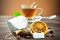 Картинка стол, чай, апельсин, ложка, чашка, напиток, корица