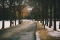 Картинка дорога, осень, город, скамья