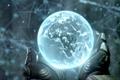 Картинка руки, земной шар, голограмма, прометей