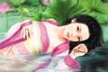 Картинка листья, вода, девушка, цветы, пруд, кольцо, арт