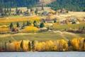 Картинка трава, деревья, река, дома, склон, дымка
