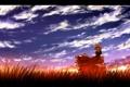 Картинка поле, трава, девушка, закат, арт, touhou, nekominase