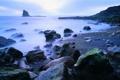 Картинка море, туман, скала, камни