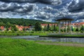 Картинка трава, облака, город, фото, HDR, Германия, Bad Liebenstein