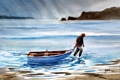 Картинка море, пейзаж, лодка, картина, акварель