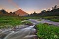 Картинка пейзаж, закат, река, гора, вулкан
