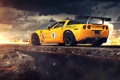 Картинка Tuning, Corvette, Sportcar, Clouds, Road, Spoiler, Chevrolet