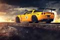 Картинка Corvette, Chevrolet, Clouds, Fire, Rock, Yellow, Tuning