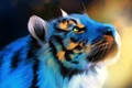 Картинка голубой, фон, рисунок, тигр, голова