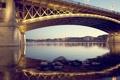 Картинка мост, огни, река, вечер, Венгрия, Будапешт
