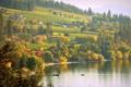 Картинка небо, трава, деревья, река, лодка, дома, склон