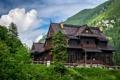 Картинка облака, деревья, горы, дом, скалы, Польша, отель
