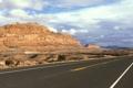 Картинка Камни, Дорога, Скалы, Облака, Пейзаж, Трасса, Пустыня