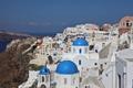 Картинка море, скалы, дома, Санторини, Греция, склон, остров Тира