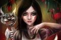 Картинка кот, арт, Alice, Alice; Madness Returns, Алиса