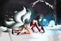 Картинка девушка, снег, деревья, league of legends, ahri, ахри
