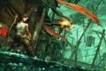 Картинка вода, девушка, огонь, игра, корабль, лук, арт