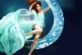 Картинка девушка, океан, арт, живопись, Yannomi, по водой