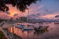 Картинка закат, город, дома, корабли, лодки, набережная, гавань