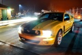 Картинка небо, ночь, жёлтый, Mustang, Ford, тень, Форд