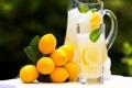 Картинка листья, бокалы, напиток, лимоны