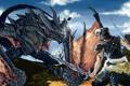 Картинка кровь, дракон, воин, арт, битва, Skyrim, The Elder Scrolls V