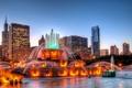 Картинка ночь, город, огни, фонтан, USA, панорамма, Сhicago