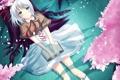 Картинка девушка, деревья, аниме, лепестки, сакура, арт, лента