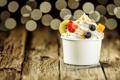 Картинка ягоды, киви, черника, клубника, орехи, крем, десерт