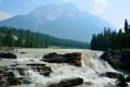 Картинка лес, река, скалы, небо, водопад, горы