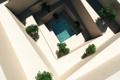 Картинка бассейн, ступени, вода, уровни, белые, кусты, арт