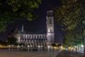 Картинка деревья, ночь, огни, улица, Германия, площадь, церковь