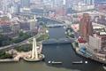 Картинка Шанхай, сверху, фото, Китай, город, водный канал, мосты
