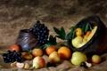 Картинка виноград, яблоки, груши, еда, фрукты, натюрморт