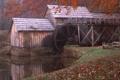 Картинка осень, река, мельница