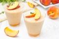Картинка персики, суфле, десерт, стаканы, сладкое, фрукты, сладости