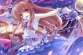 Картинка вода, девушка, радость, ночь, магия, лепестки, сакура