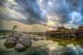 Картинка небо, облака, озеро, дерево, скалы