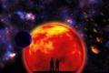 Картинка небо, космос, звезды, люди, планета, силуэт