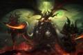 Картинка оружие, огонь, магия, молнии, крылья, Арт, демоны