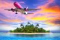 Картинка море, пляж, тропики, Самолет, летящий над островом