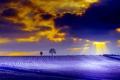 Картинка поле, лучи, тучи, природа, дерево, краски, зарево