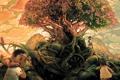Картинка облака, счастье, дети, город, мусор, дерево, Junk Tree Paradise