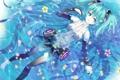 Картинка вода, девушка, цветы, лепестки, сакура, арт, vocaloid