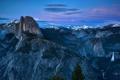 Картинка лес, пейзаж, горы, USA, сумерки, Yosemite, High Sierra