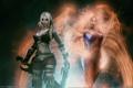 Картинка оружие, девушки, крылья, меч, демон, лента, огненные