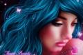 Картинка взгляд, девушка, бабочки, фантастика, магия, сердце, синие волосы