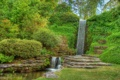 Картинка деревья, парк, камни, стена, водопад, поток, каскад