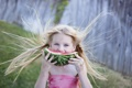 Картинка волосы, арбуз, девочка