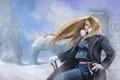 Картинка девушка, снег, оружие, буря, форма, art, rikamello